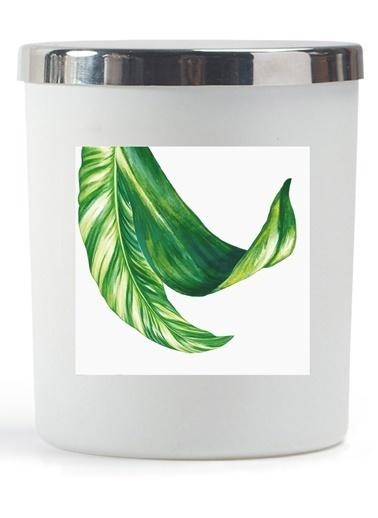 Lyn Home & Decor Yaprak 3 Beyaz Bardak Mum Beyaz